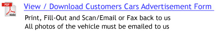 Customer Cars Advertisement Form